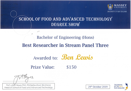 Best Researcher Award certificate, awarded to Ben Lewis.