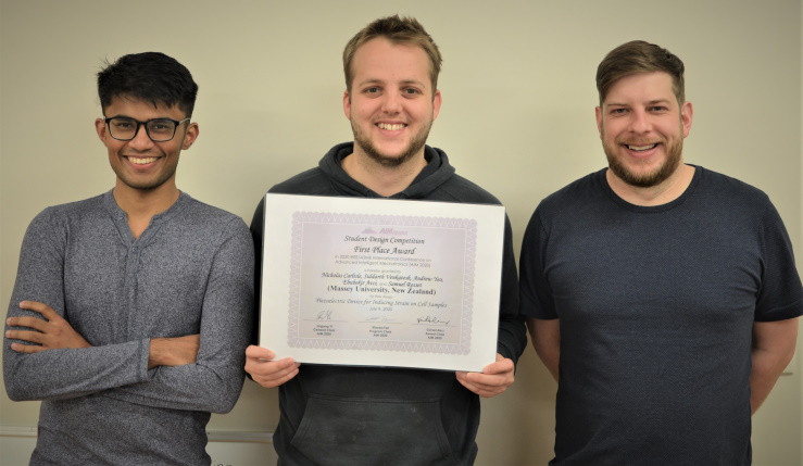 Andrew, Sid and Nick proudly present their first place certificate.