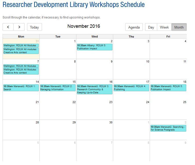 Researcher Development Library Workshops November 2016