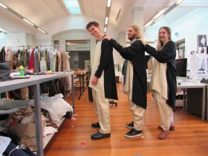 Donning Catherine Bagnall's costumes for the 'Becoming Penguin' walk are fourth year fashion students Jacob Coutie, Jordie Agnew and Hannah Tate.
